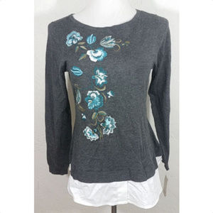 Charter Club Medium Top Floral Embroidered Beaded